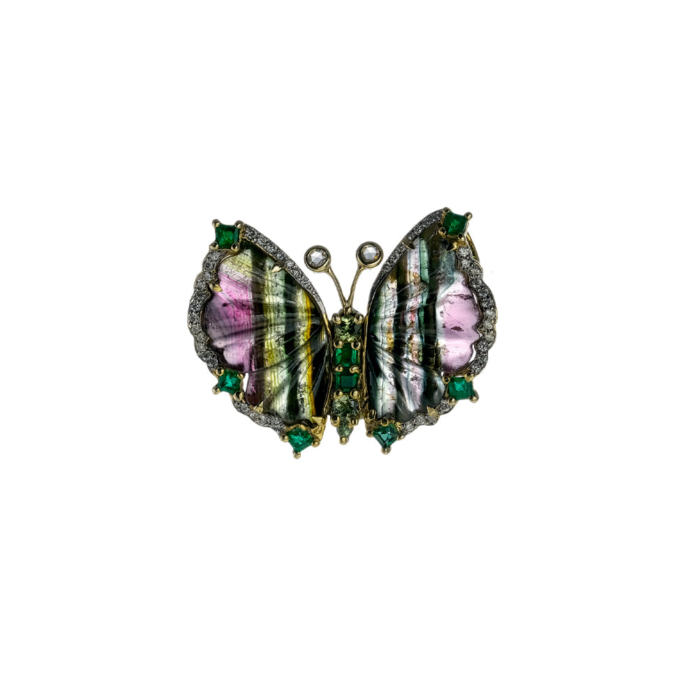 Tourmaline and Emerald Butterfly Pendant