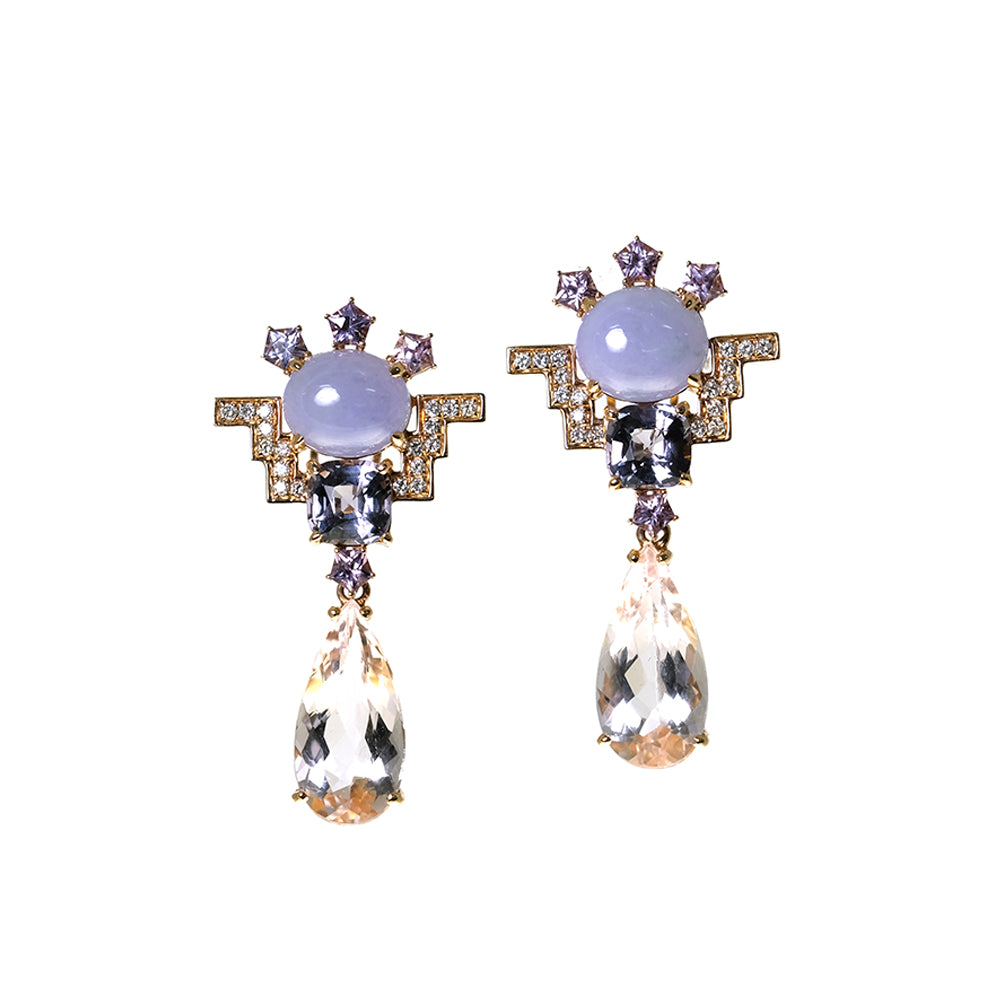 Lavender Jade, Spinel and Morganite Earrings