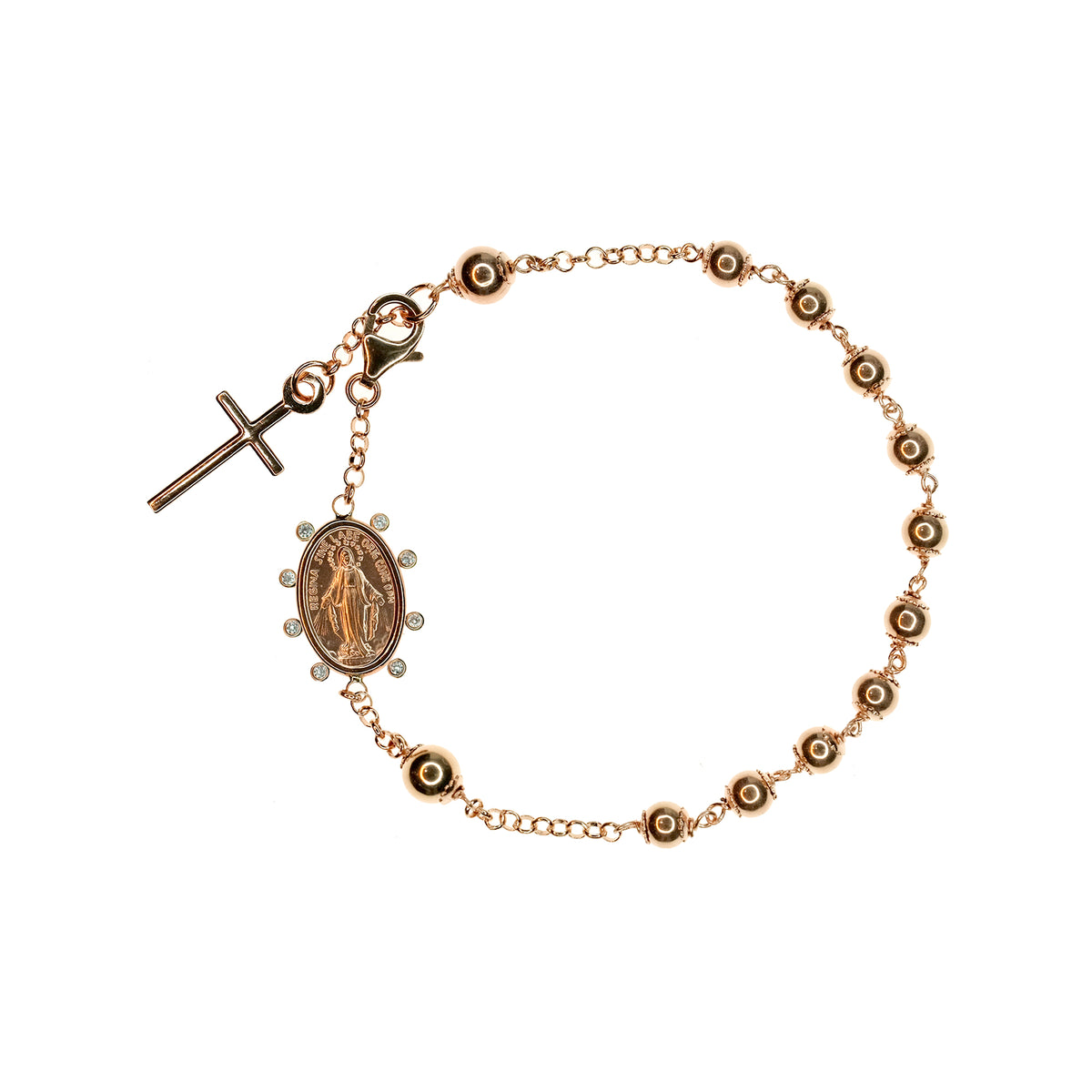Rosary Bracelet with Miraculous Medal and Cross in Rose Gold