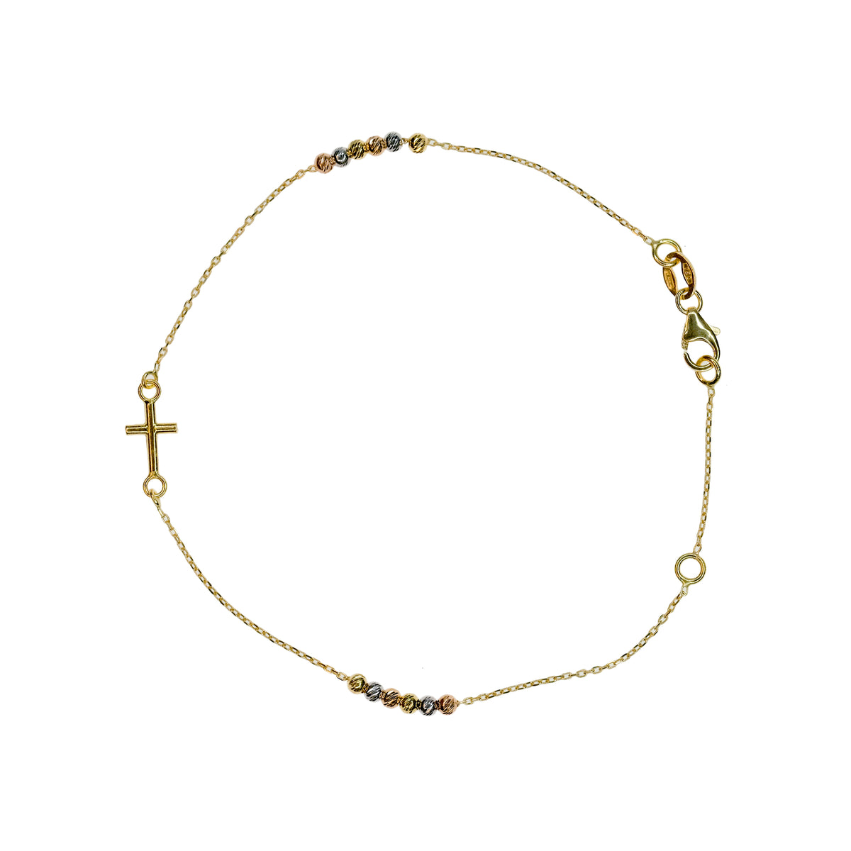 Tri-Color Rosary Bracelet with Cross