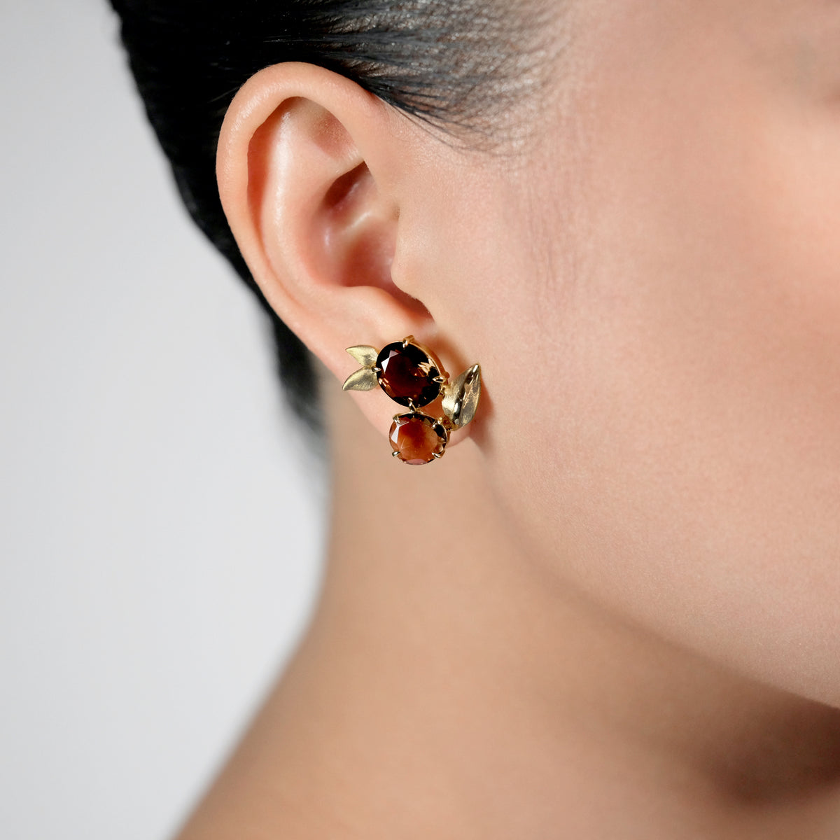 Smokey Topaz and Diamond Earrings