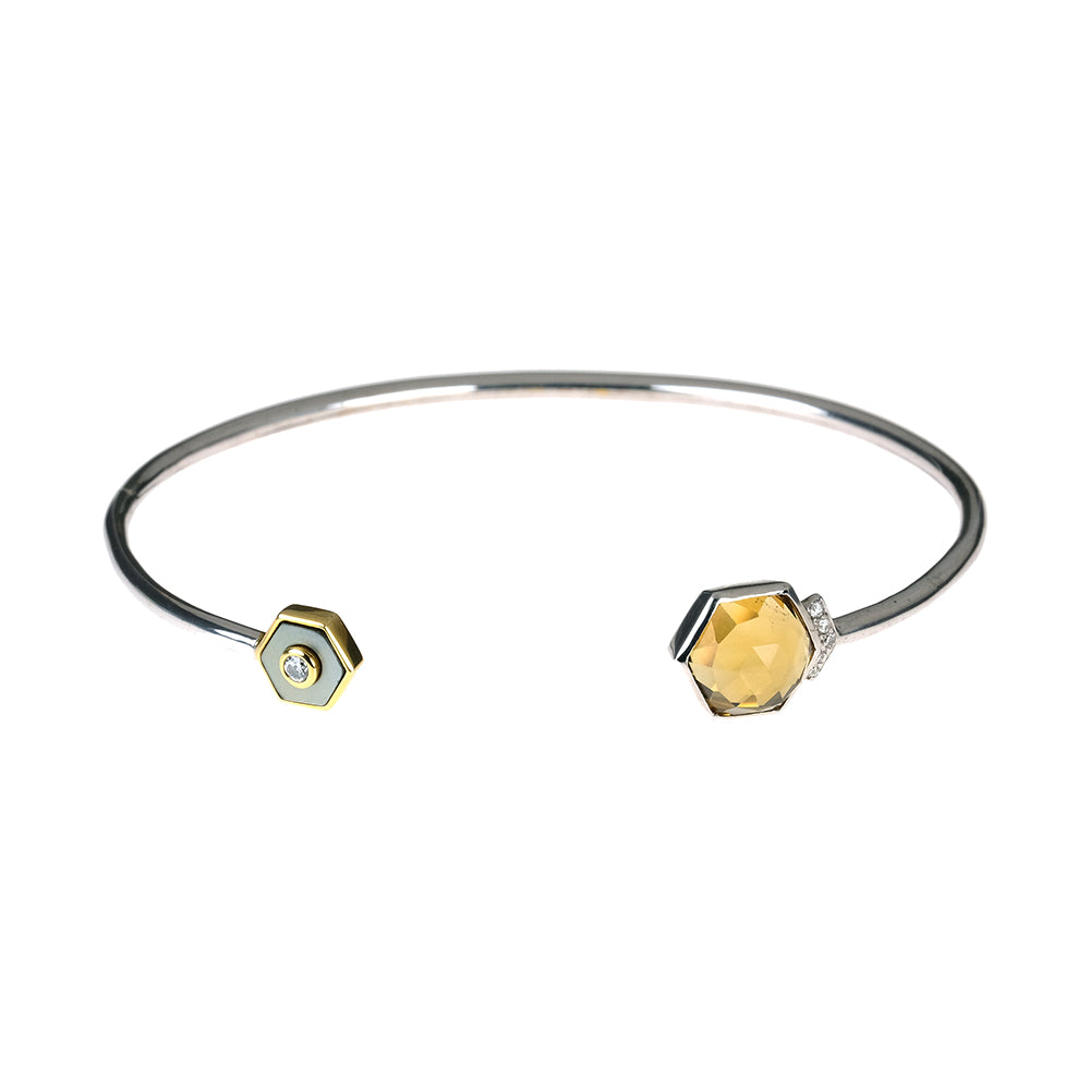 Flexible Bracelet with Whiskey Quartz and Diamonds