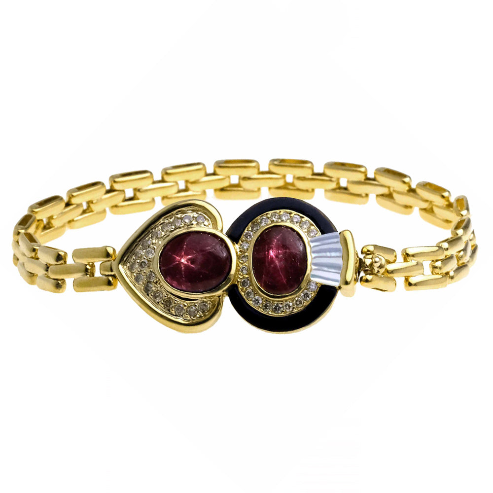Bracelet with Star Ruby and Brown Diamonds