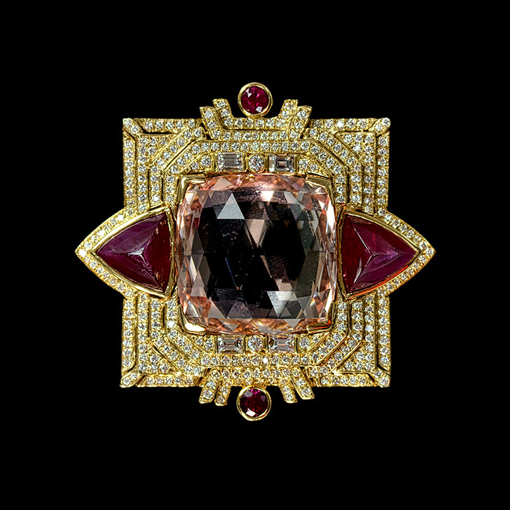Morganite, Ruby and Diamond Pin/Pendant