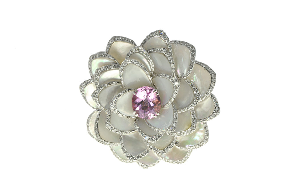 Pink Topaz and Mother of Pearl Pin
