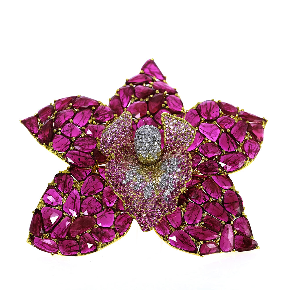 Ruby and Pink Sapphires Flower Pin