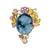 Agate Cameo, Tourmaline and Amethyst Carved Leaf and Flower Brooch