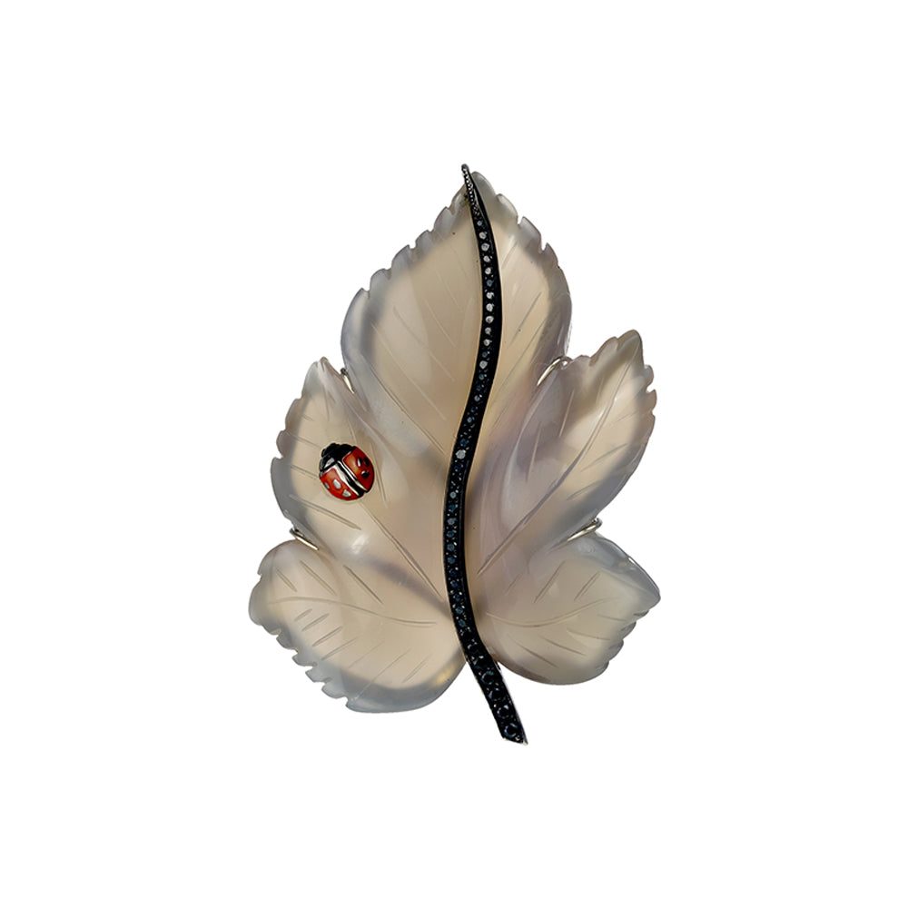 Agate Leaf and Black Spinel Pin