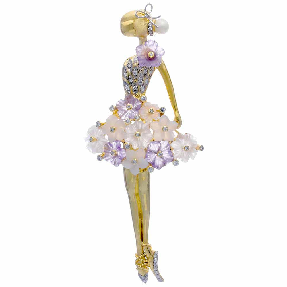 Ballerine with Amethyst and Rose Quartz Flowers
