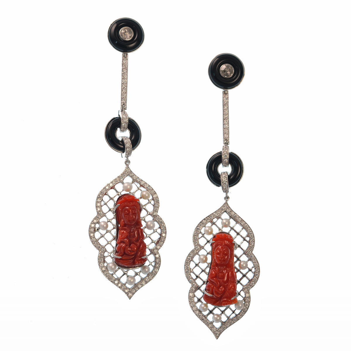 Coral and Black Onyx Earrings