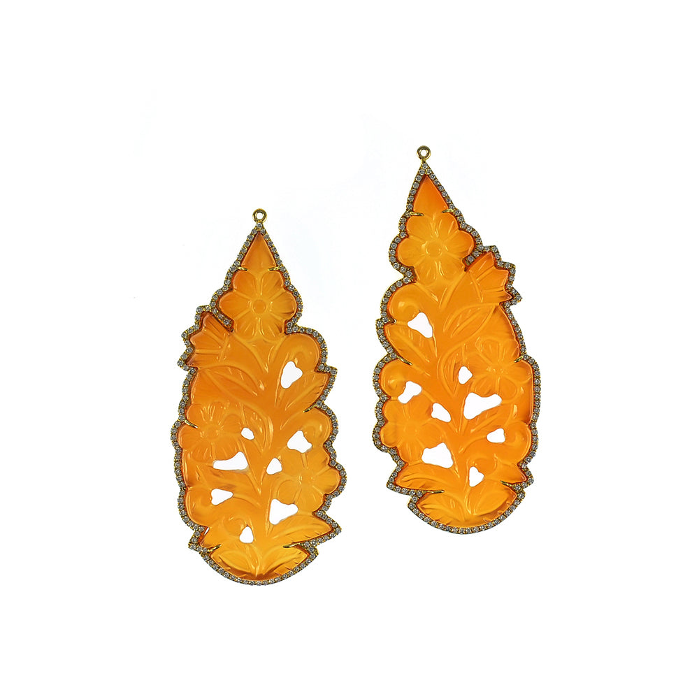 Carved Orange Agate Dangler