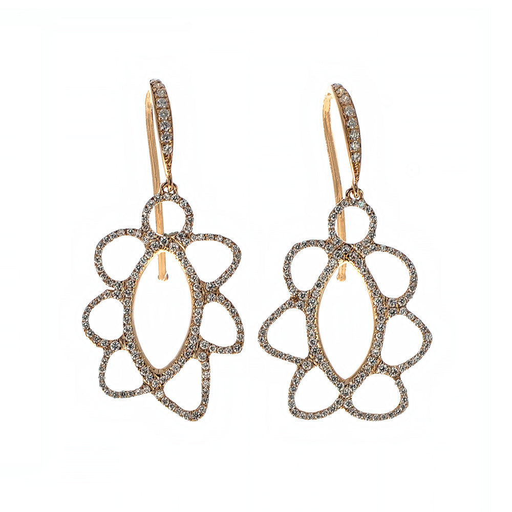 Hook and Cut-out Earrings with Diamonds