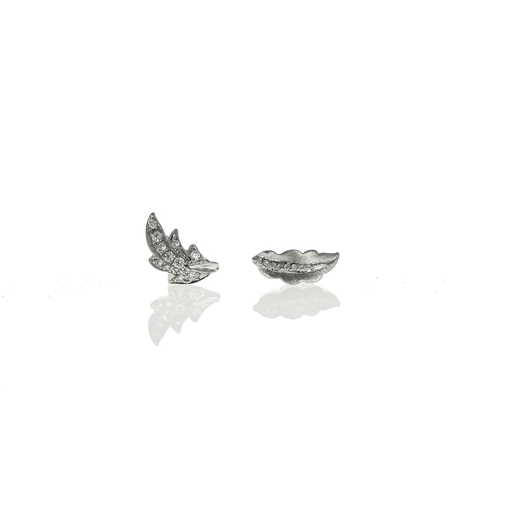 Leaf Earrings with White Diamonds