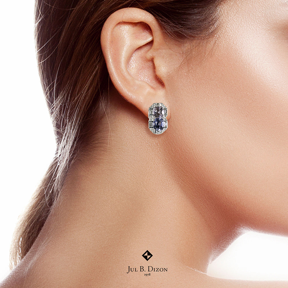Lavender and Blue Spinel with Diamond Earrings