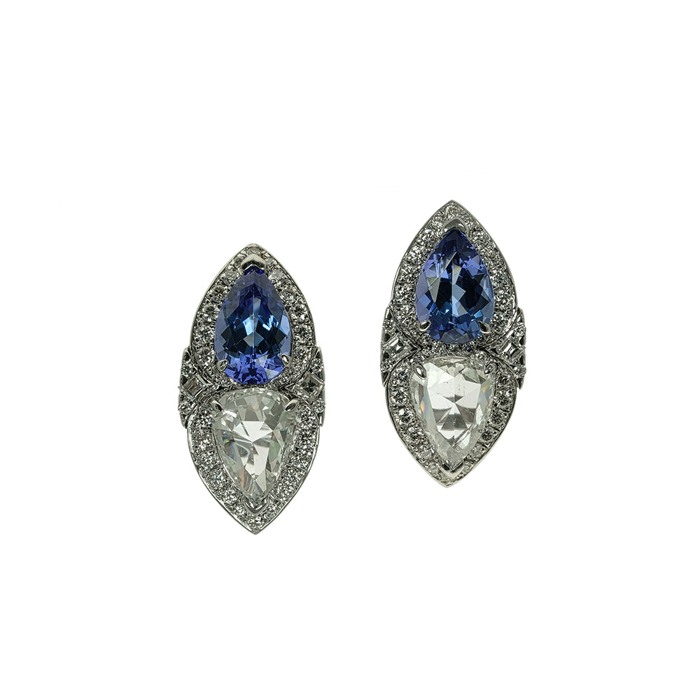 Pear Tanzanite and Diamante with Diamond Earrings