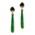 Black Diamond and Green Turquoise Earrings
