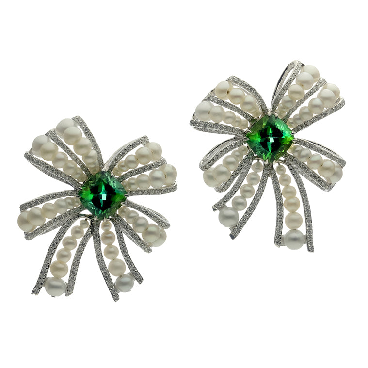 Ribbon Earrings with Green Tourmaline, Fresh Water Pearls and Diamonds