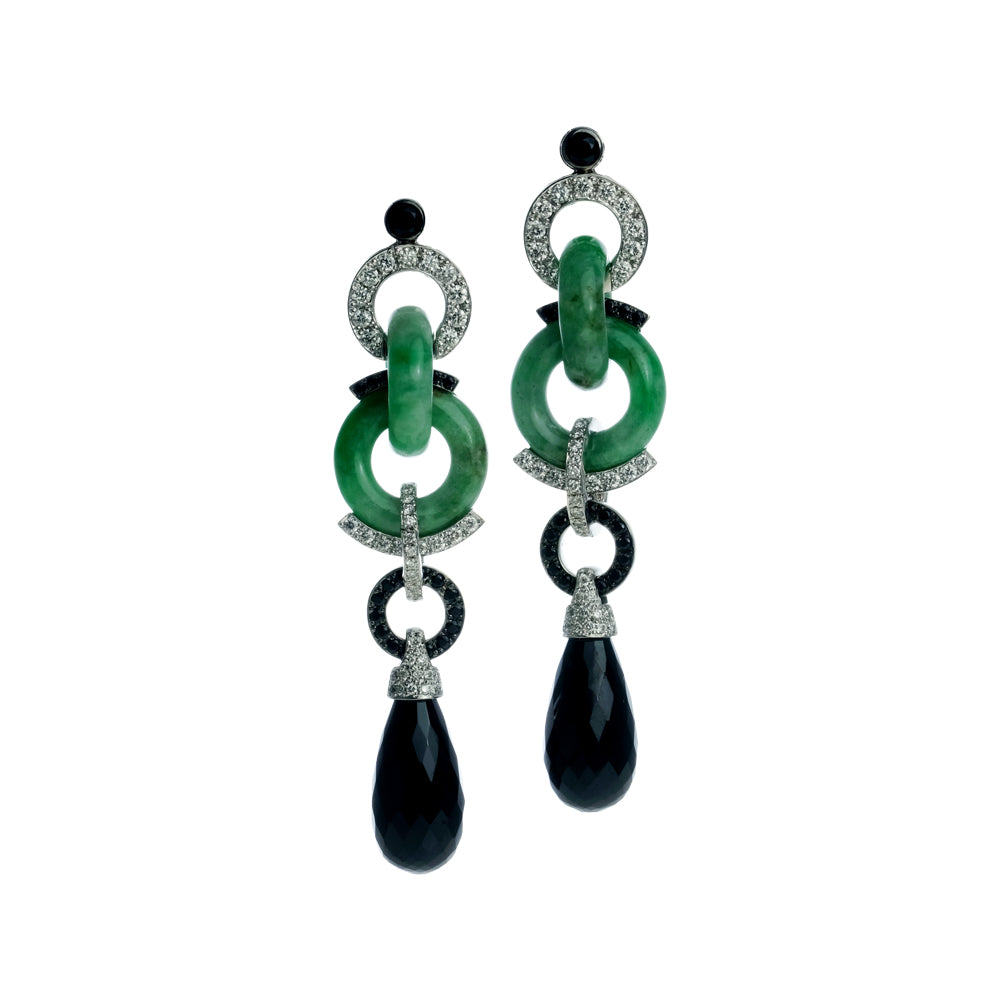 Green Jade, Black Spinel and Diamond Earrings
