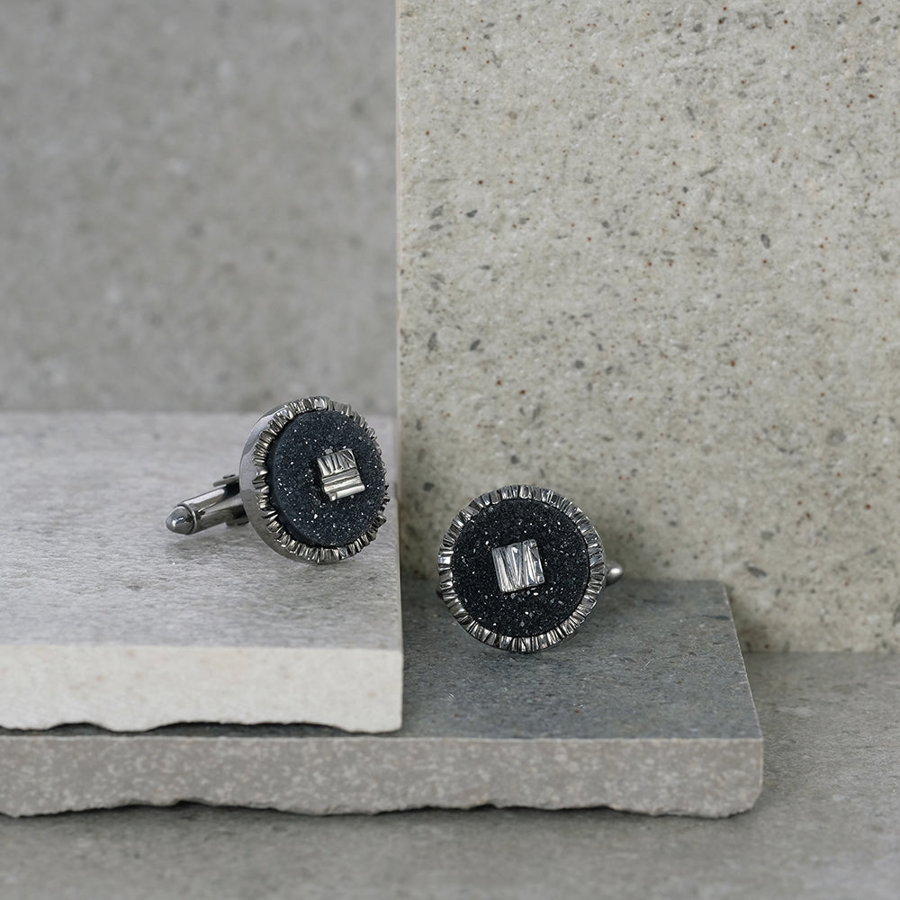 Black Druzy Agate Cufflinks
