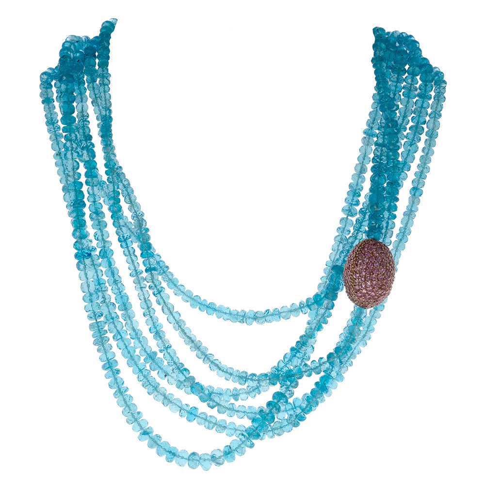 Necklace with Apatite Beads and Pave Pink Sapphires