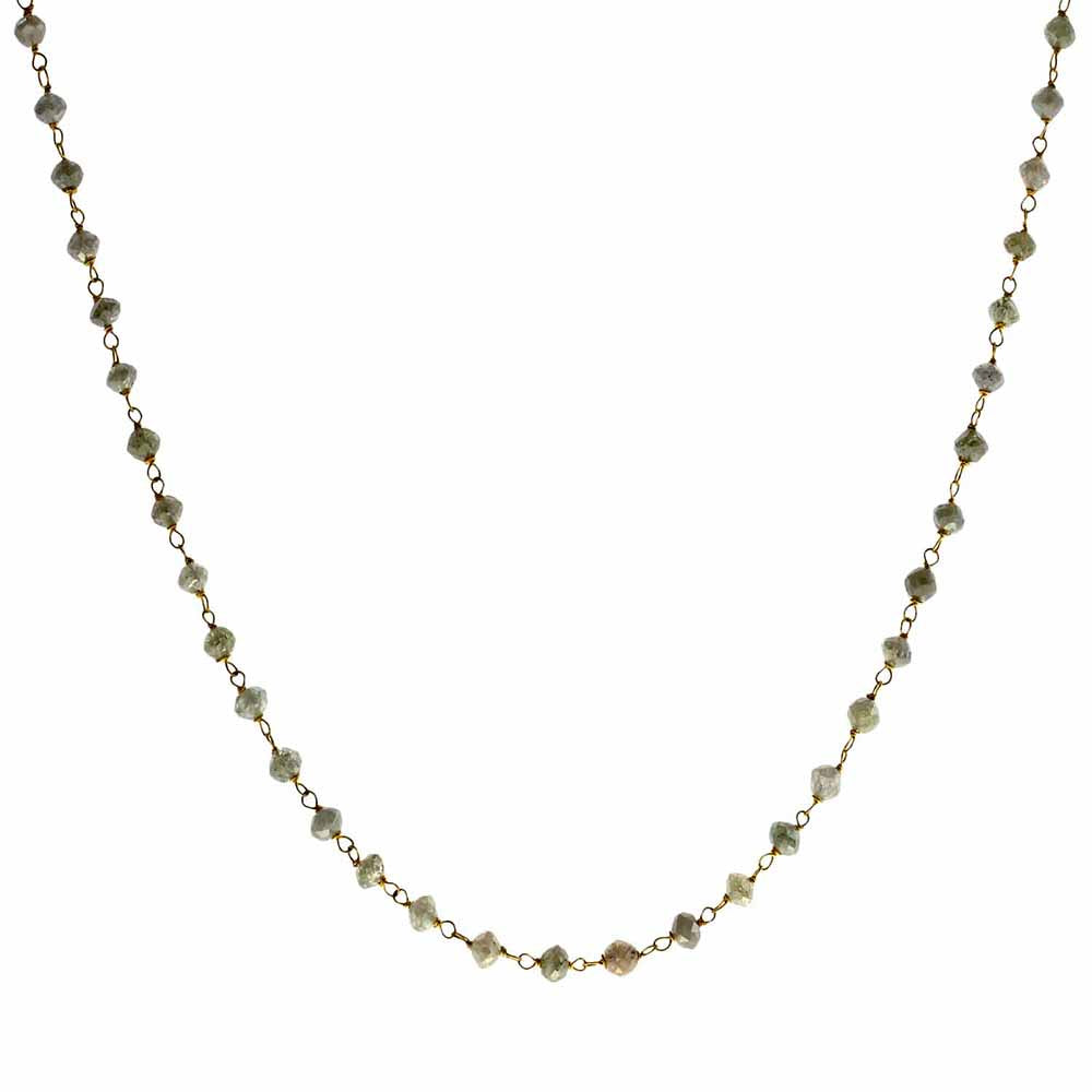 Rosary Diamond Beads Necklace