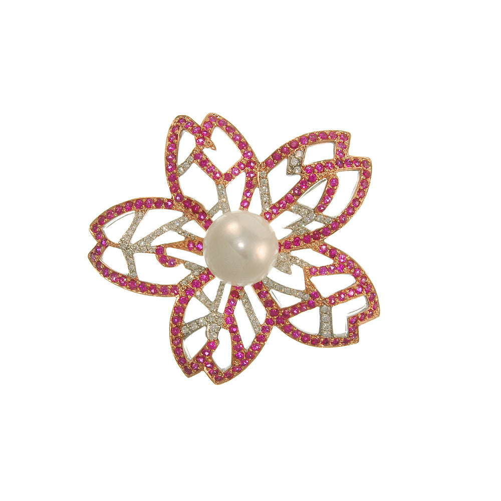 Flower Cut-Out of Pink sapphires, Fresh Water Pearl and Diamonds