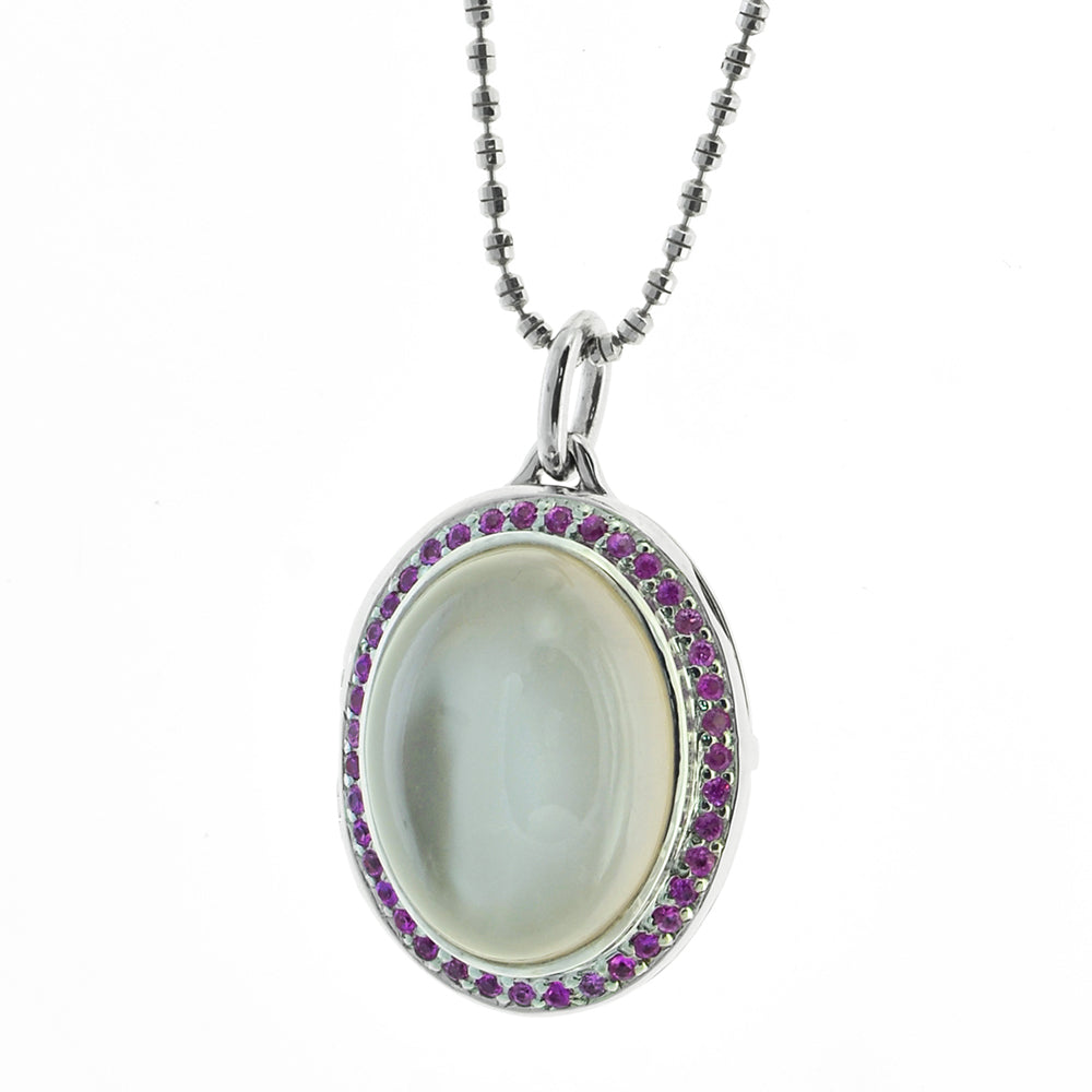 Moonstone and Pink Sapphire Locket/Pendant