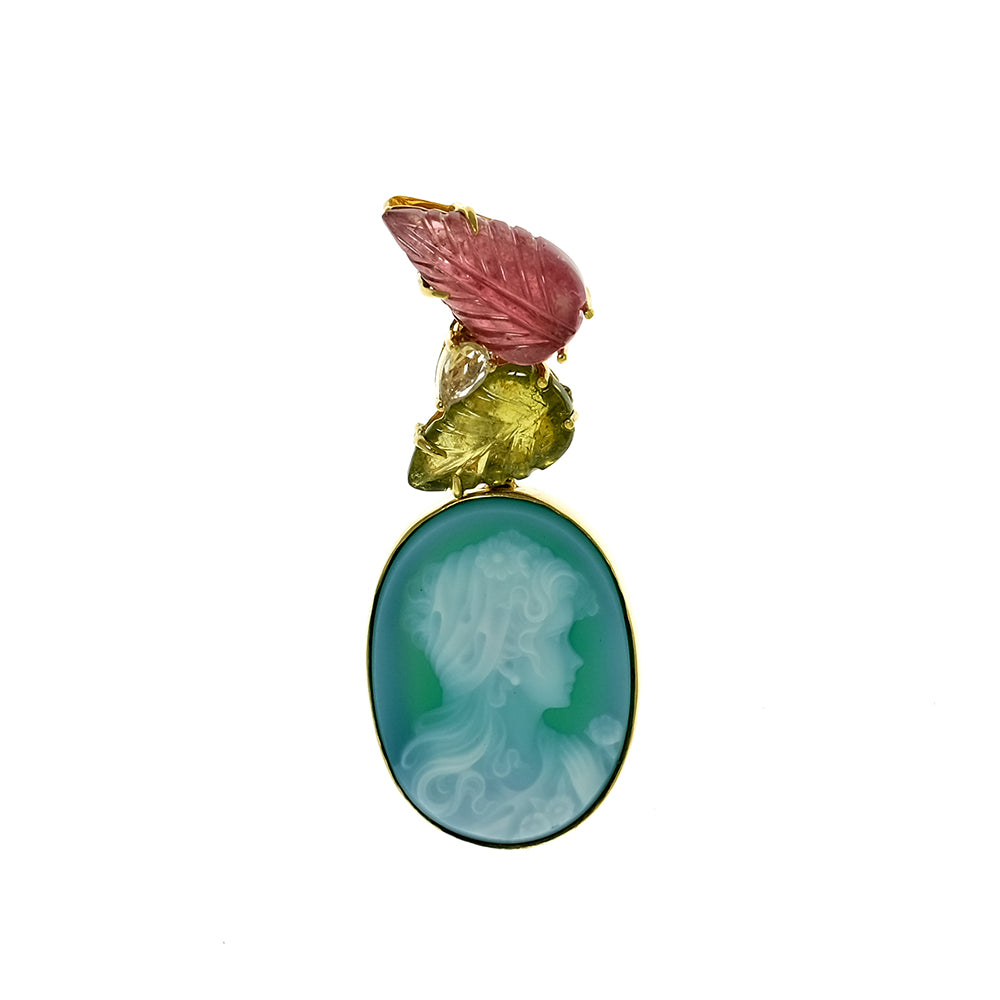 Green Agate Cameo, Tourmaline Leaves and Sapphire Pendant