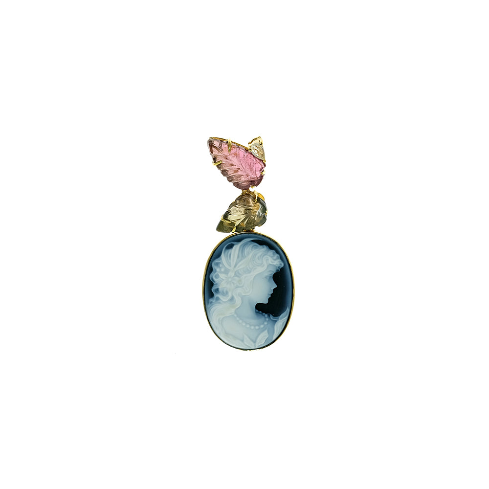Blue Agate Cameo, Tourmaline Leaves and Sapphire Pendant