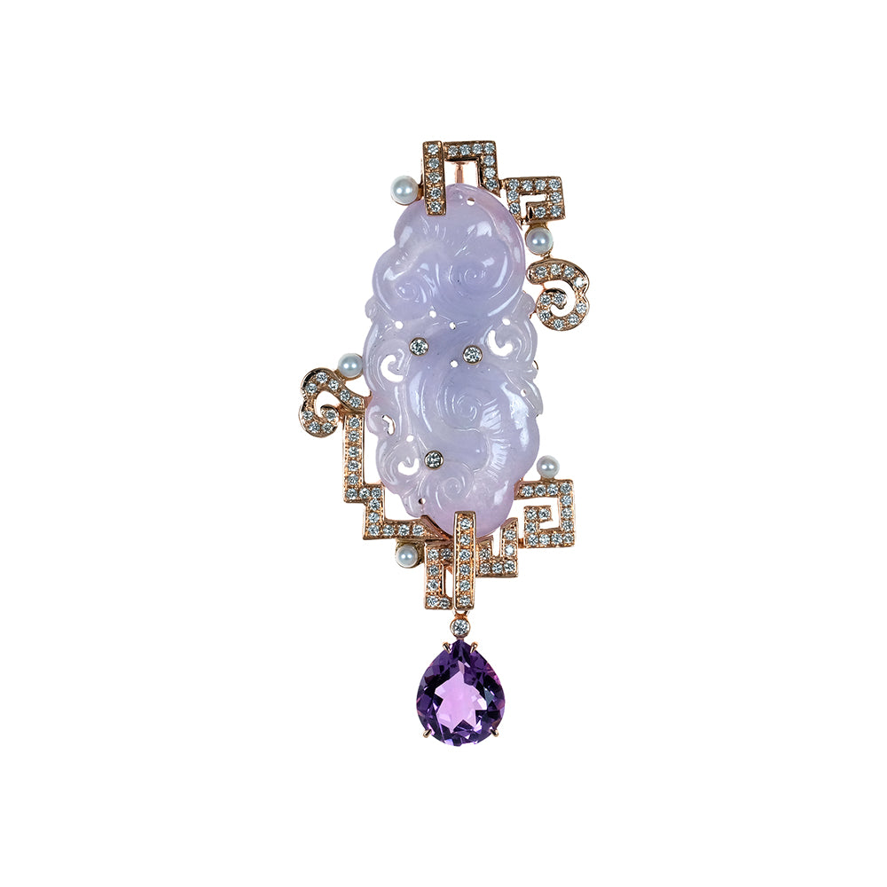 Lavender Jade Pendant with Amethyst Drop
