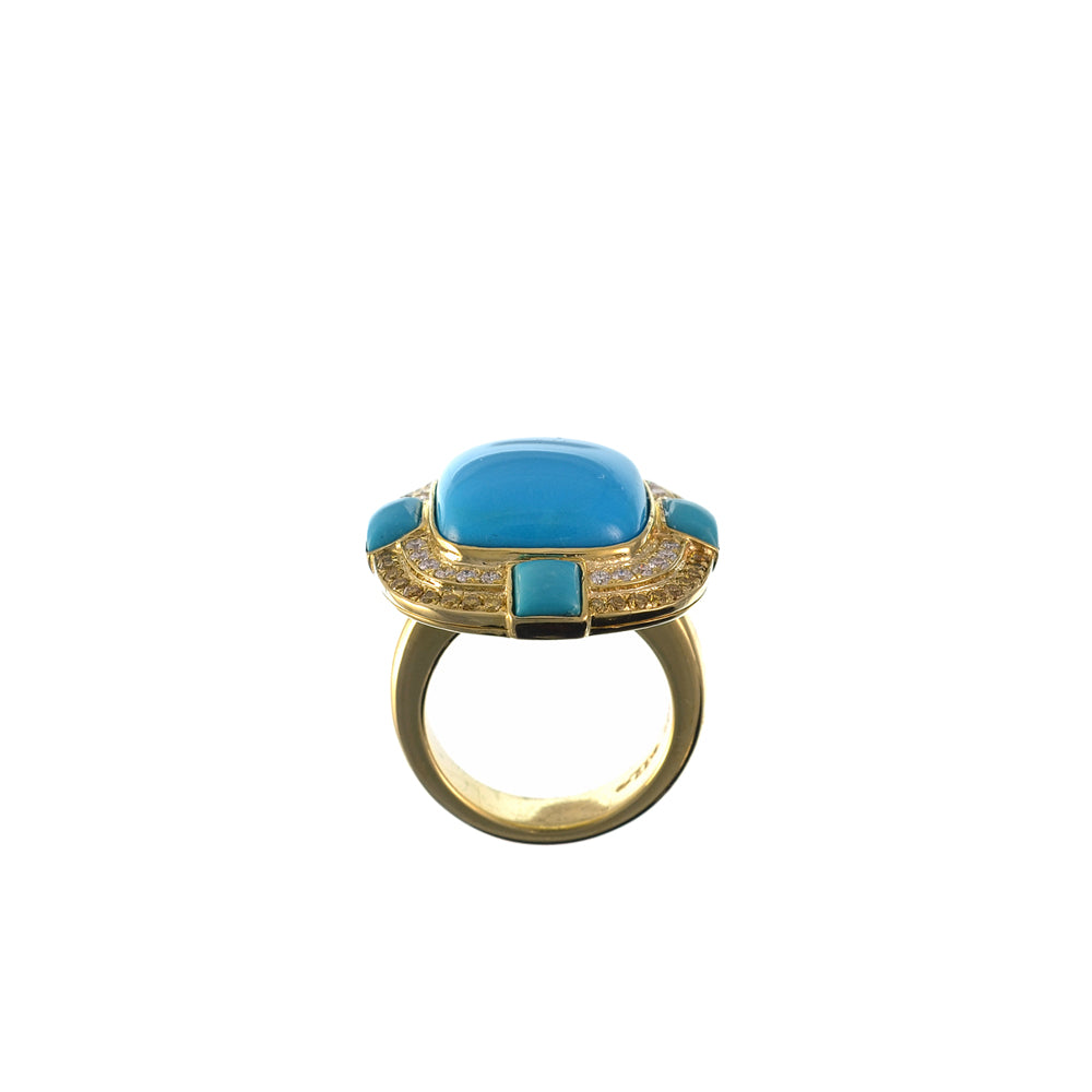 Turquoise and Yellow Diamond Ring