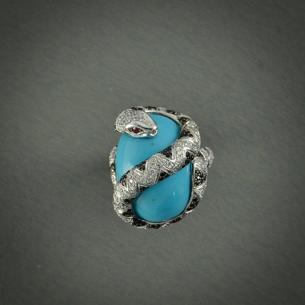 Turquoise, Ruby and Diamond Ring