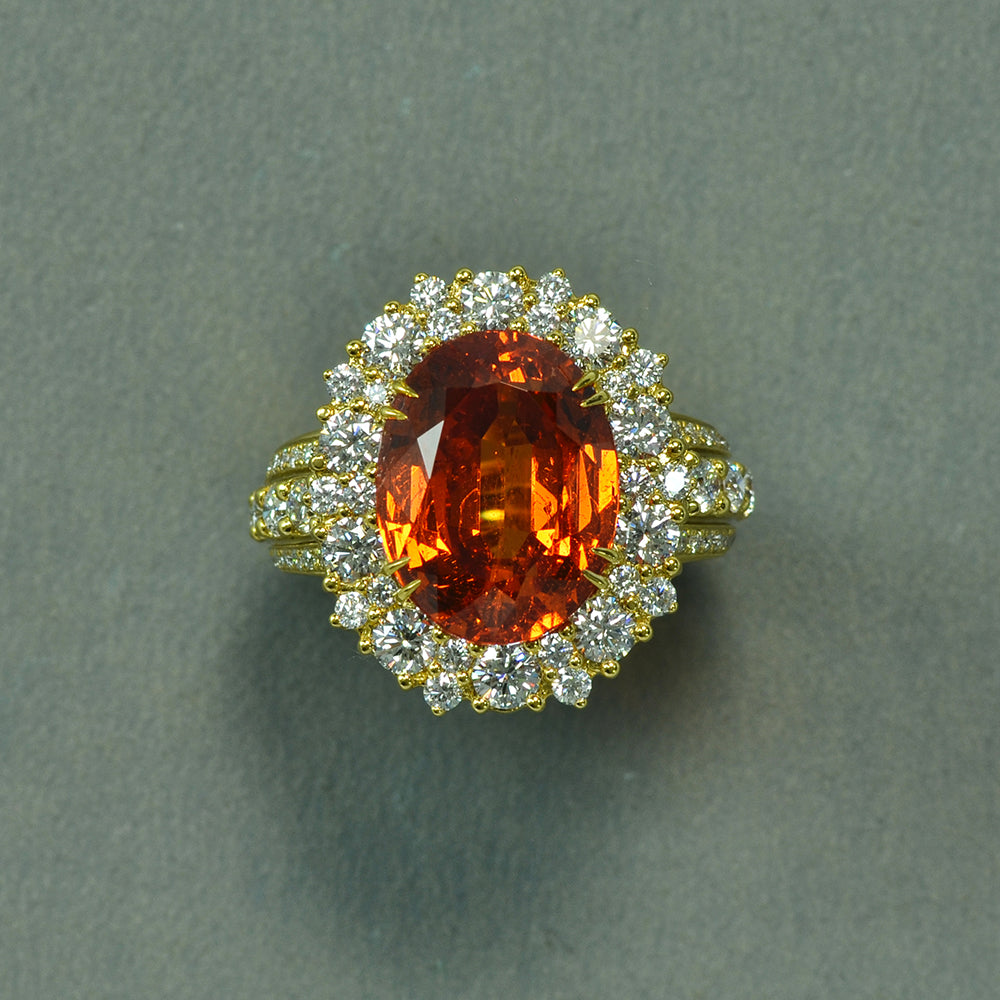 Mandarin Garnet and Diamond Ring
