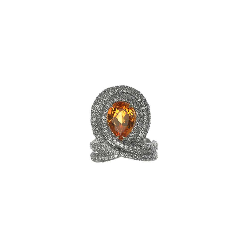 Double Loop Ring with Mandarin Garnet and Diamonds