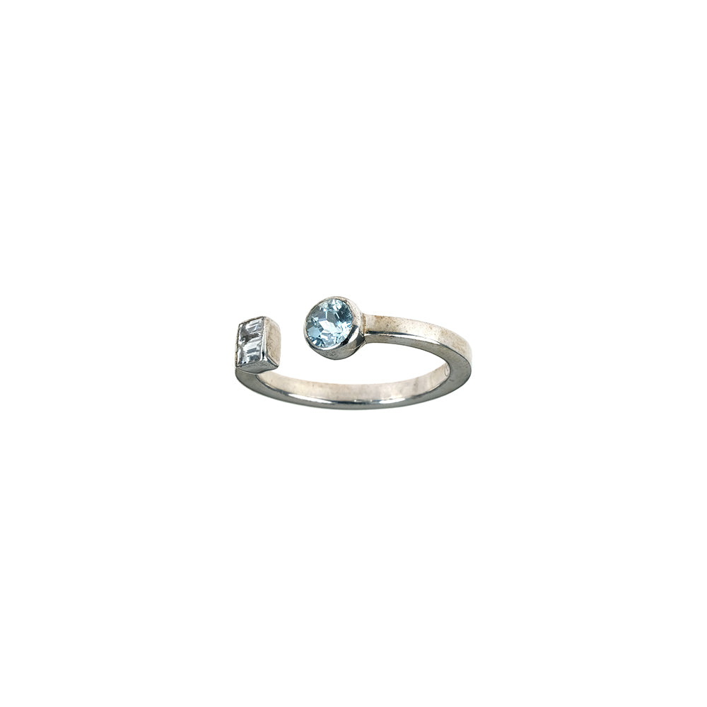 Open Ring with Blue Topaz and Sapphire