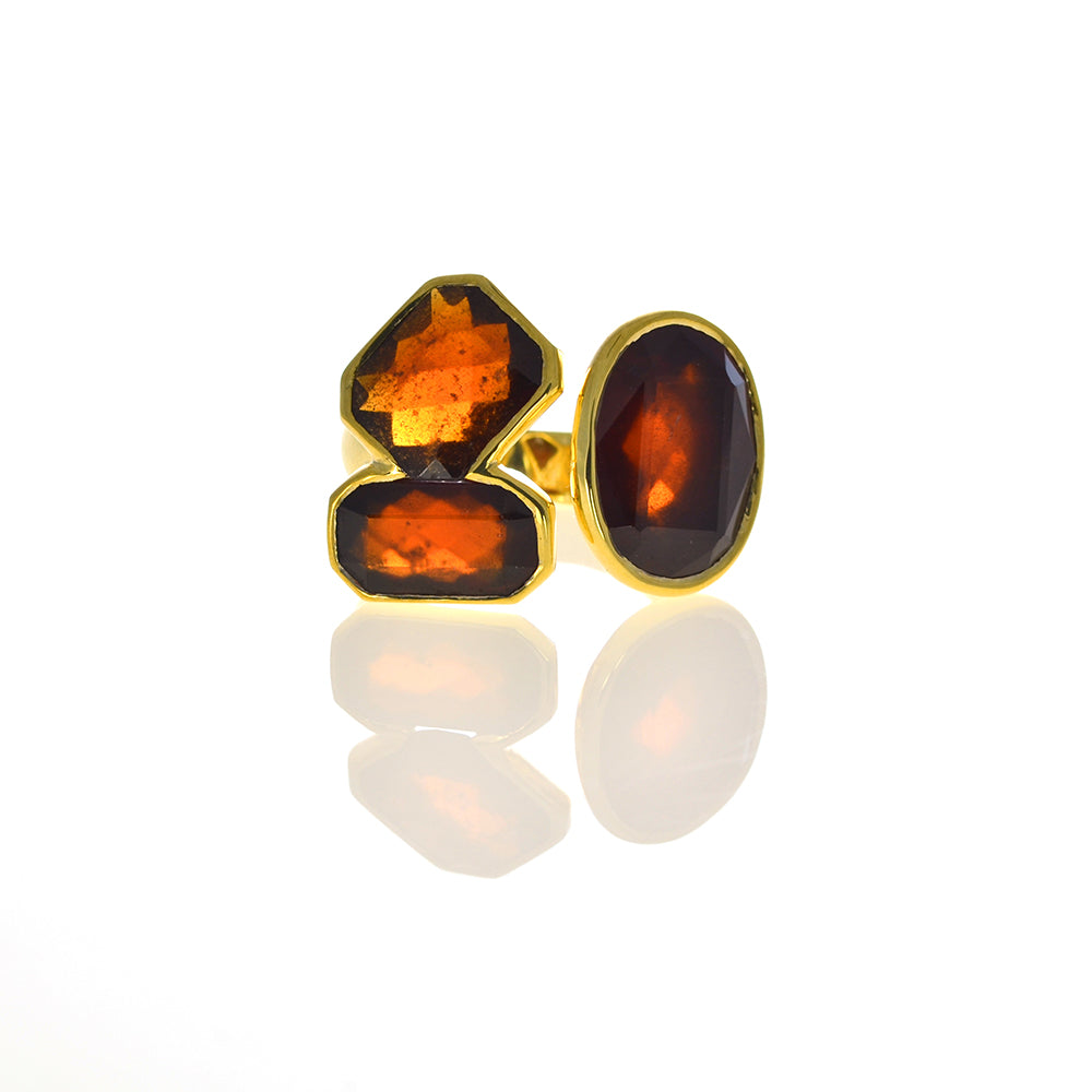 Gap Ring with Hessonite Garnet