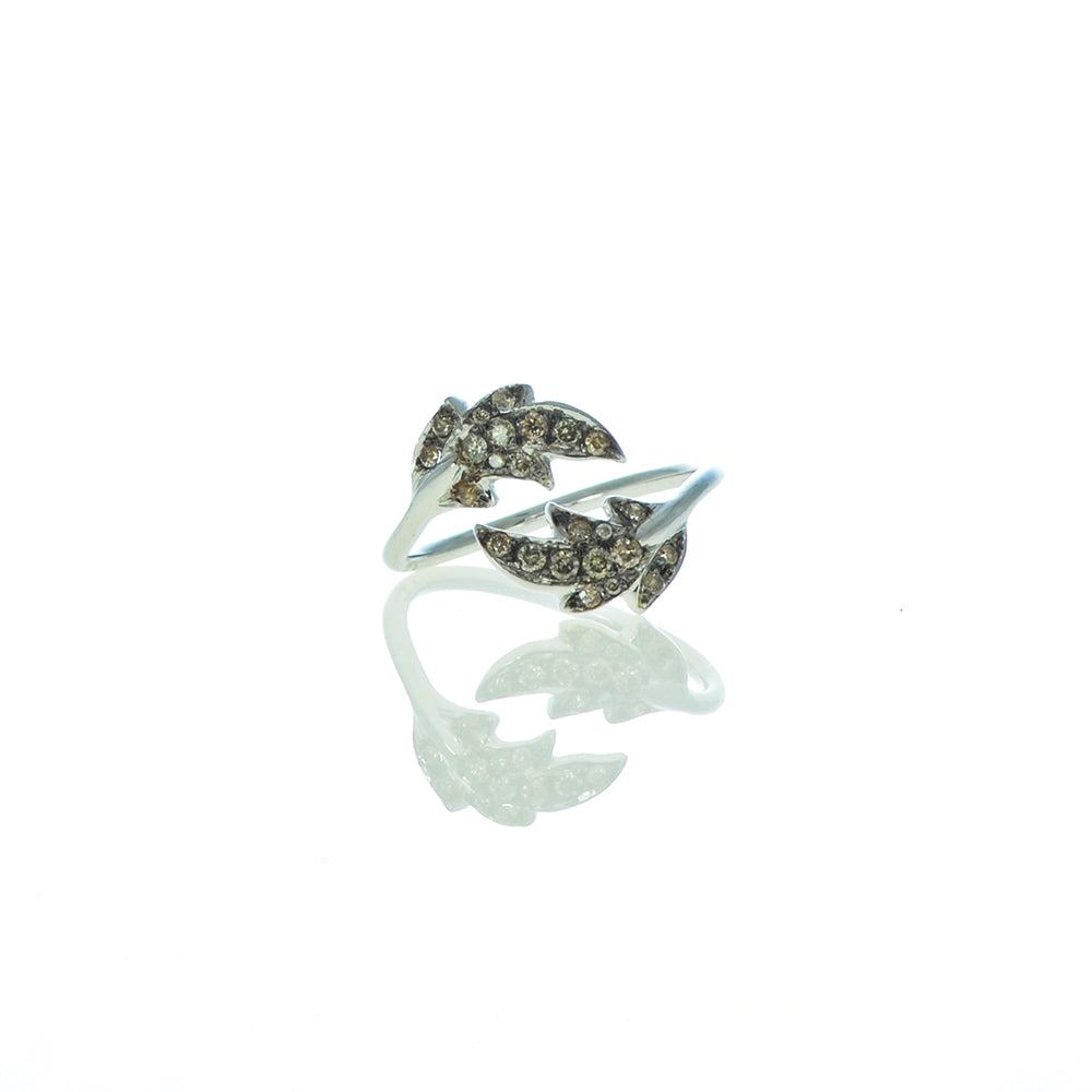 Leaf Ring with Brown Diamonds