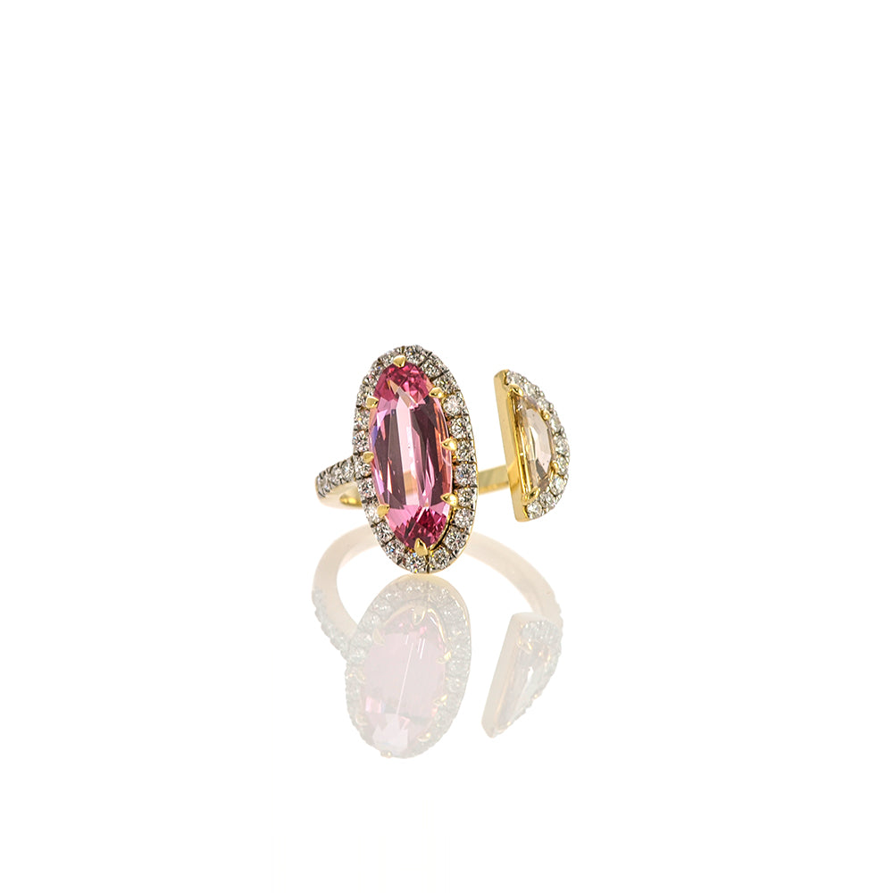 Pink Spinel and Diamante Half-moon Ring