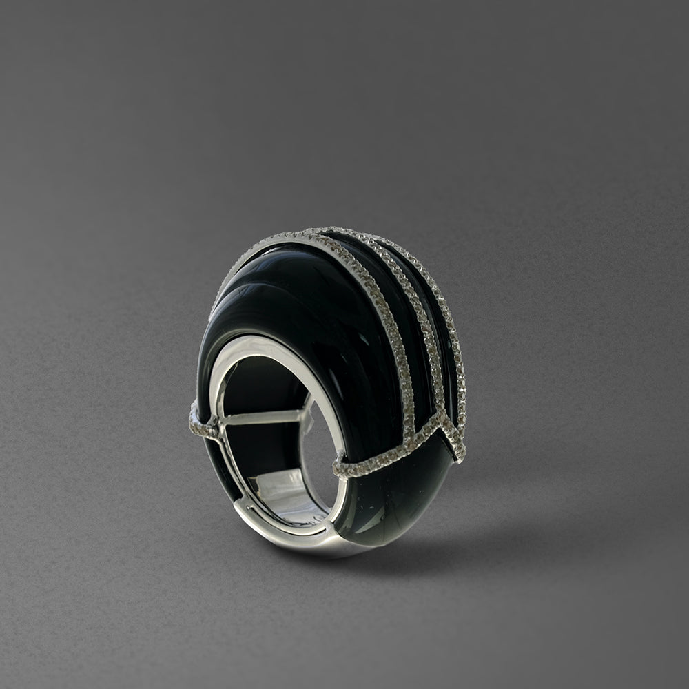 Black Onyx Dome Ring with Diamonds