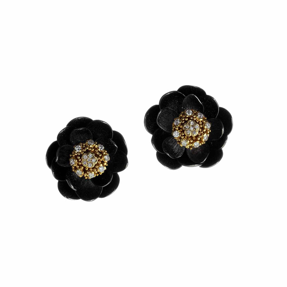 Lotus Earrings in Yellow or Rose Gold and Black Silver, Small