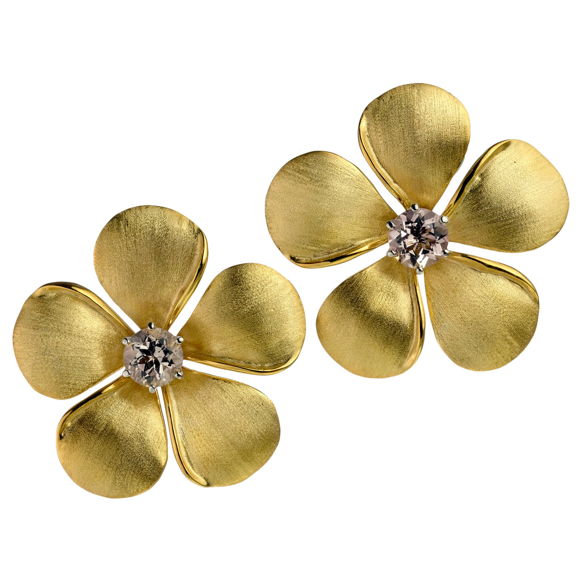 Kalachuchi Earring Jacket, Large, Satin Finish (available in yellow, white, and rose gold)