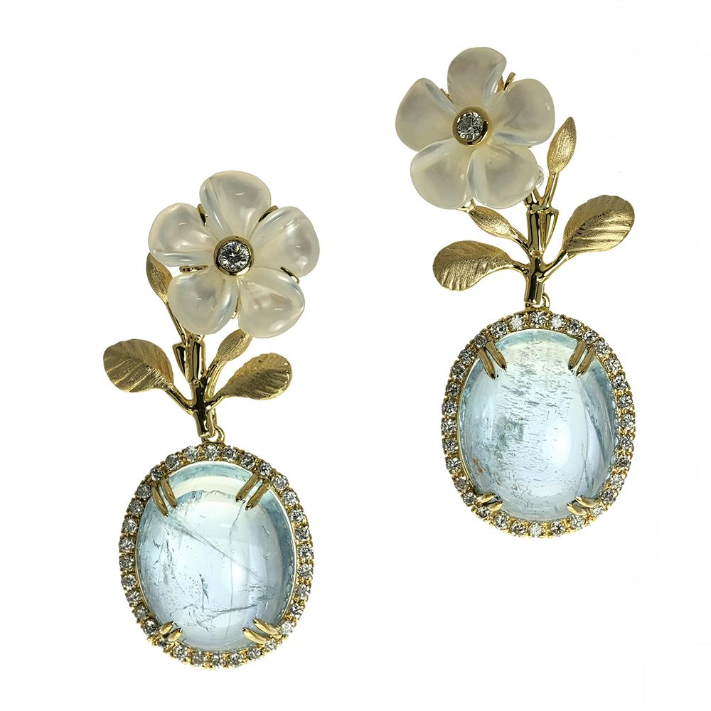 Mother of Pearl Kalachuchi Earring, with Branches, Small, with Diamond (available in yellow, white, and rose gold)