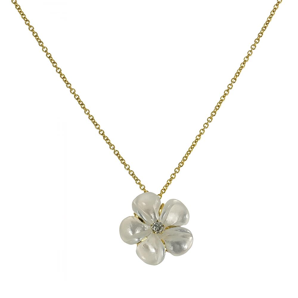 Mother of Pearl Kalachuchi Necklace, Small, with Diamond and Chain (available in yellow, white, and rose gold)