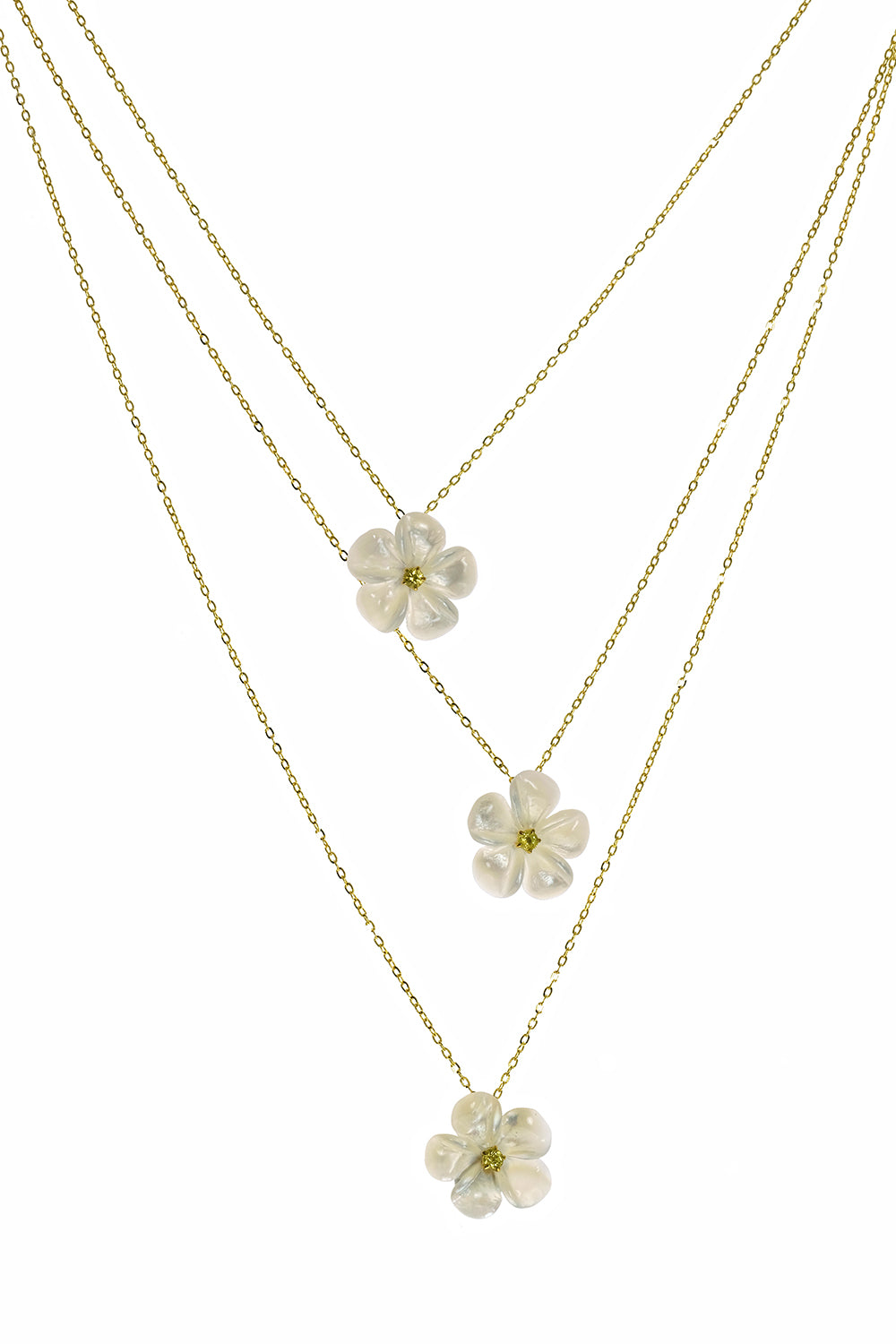 Mother of Pearl Kalachuchi Necklace, Small, with Yellow Sapphire and Chain (available in yellow, white, and rose gold)