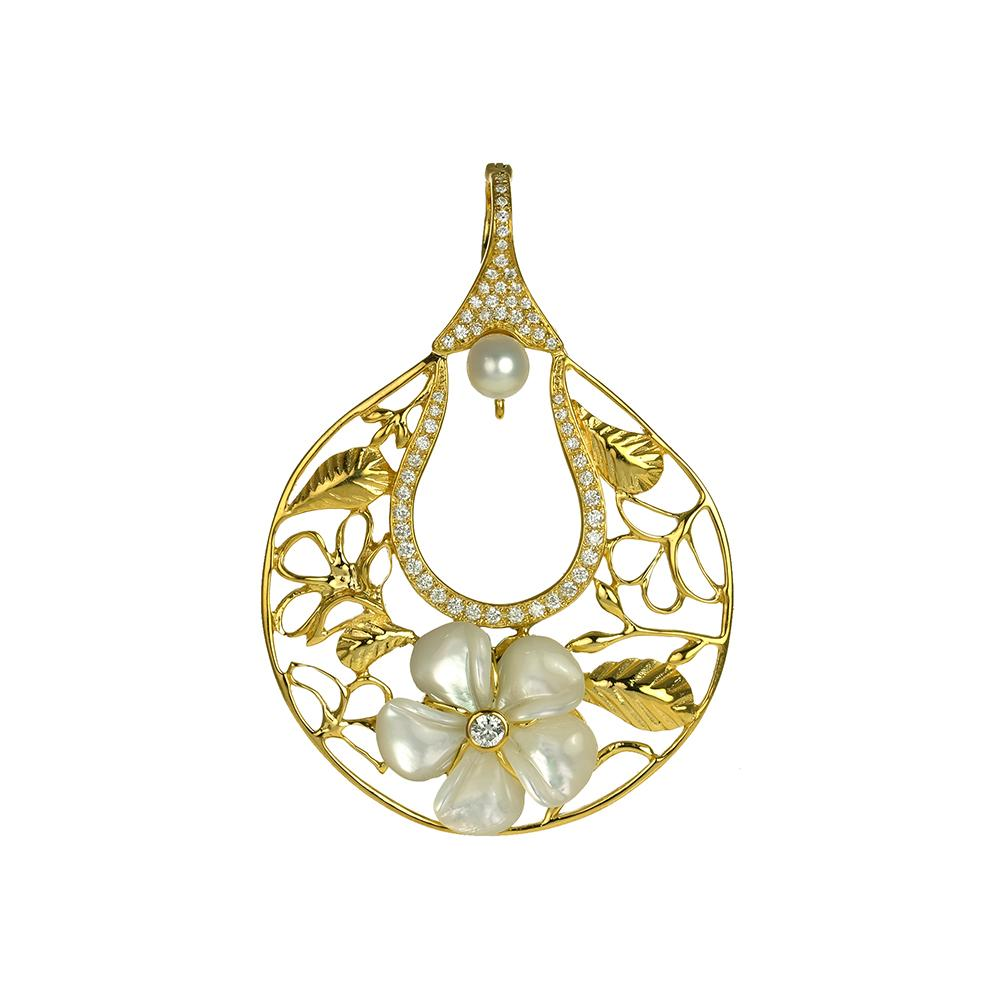Mother of Pearl Cut-out Kalachuchi Pendant, with Diamond (available in yellow, white, and rose gold)