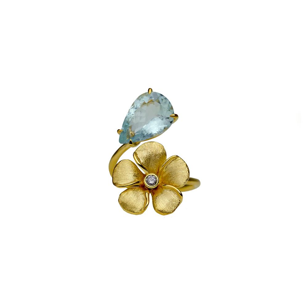 Diamond Kalachuchi Ring with Aquamarine, Small, Satin Finish (available in yellow, white, and rose gold)