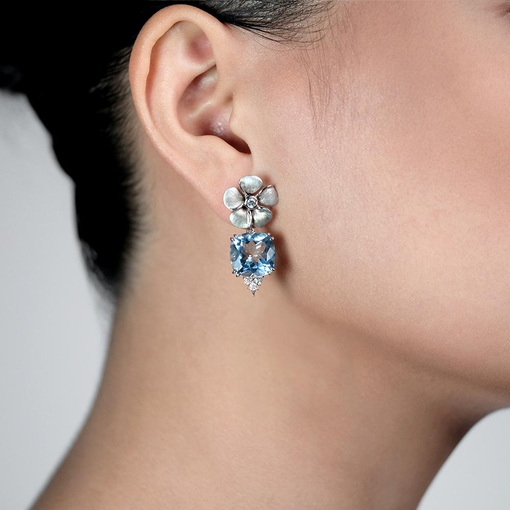 Diamond Kalachuchi Earring with Aquamarine, Small, Satin Finish, (available in yellow, white, and rose gold)