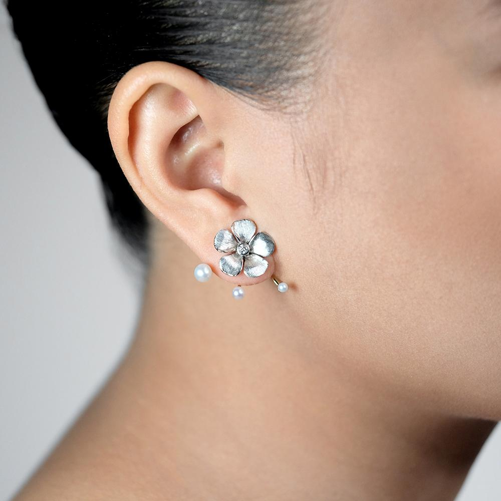 Diamond Kalachuchi Earring, Small, Satin Finish (available in yellow, white, and rose gold)