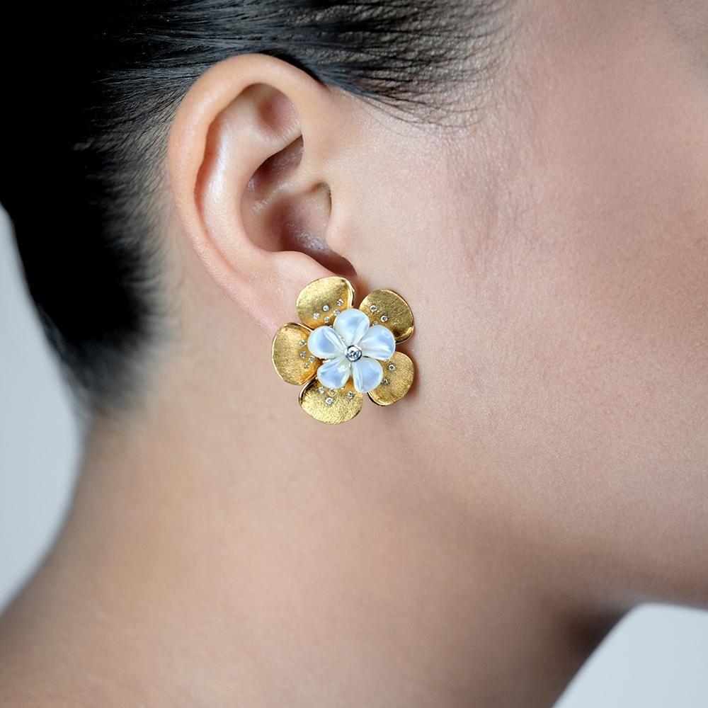 Mother of Pearl Kalachuchi Earring, Small, with Diamond (available in yellow, white, and rose gold)