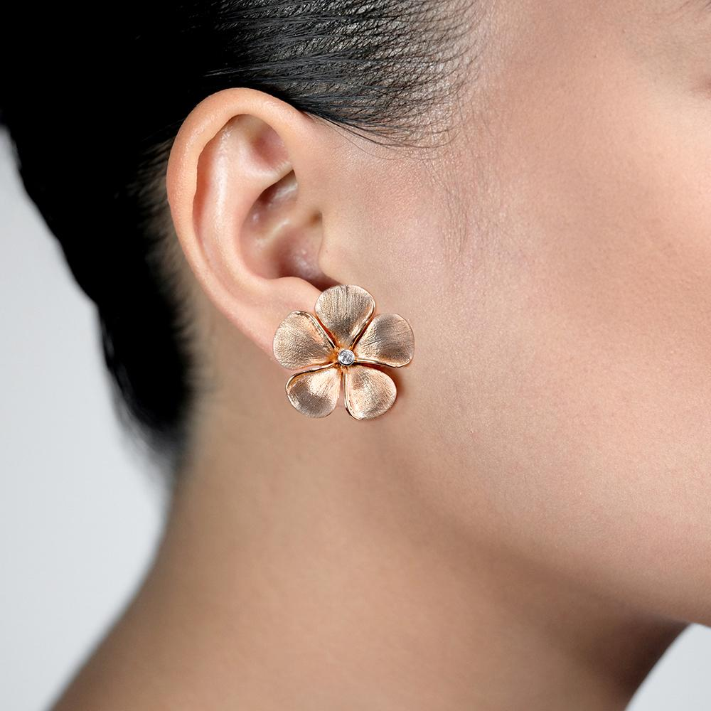 Diamond Kalachuchi Earring, Medium, Satin Finish (available in yellow, white, and rose gold)